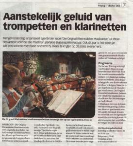 Aankondiging in Woerdense Courant van 15 oktober 2010